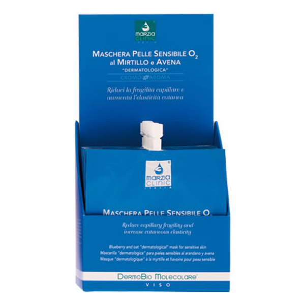 Marzia Clinic Blueberry and Oat Mask for Sensitive Skin med DermoBio Molecolare®, blåbær og havre for sensitive hud bekjemper den tørre og irriterte huden. Ansiktsmasken fjerner rødheten som er typisk for irritert hud, reduserer kapillær skjørhet og tilfører dermo-beskyttende molekyler. Umiddelbart etter påføringen får du elastisk og silkemyk hud.